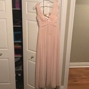 After six blush with sparkle bust bridesmaid dress